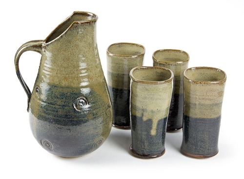 8050 Pitcher and glasses, Stoneware cone 6, 10x6 and 6x3 inches, 2014