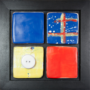 """Michaelas Window #3"", encaustic on clay, 6"" x 6"""