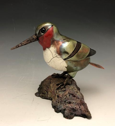 Raku Hummingbird by Terri Axness